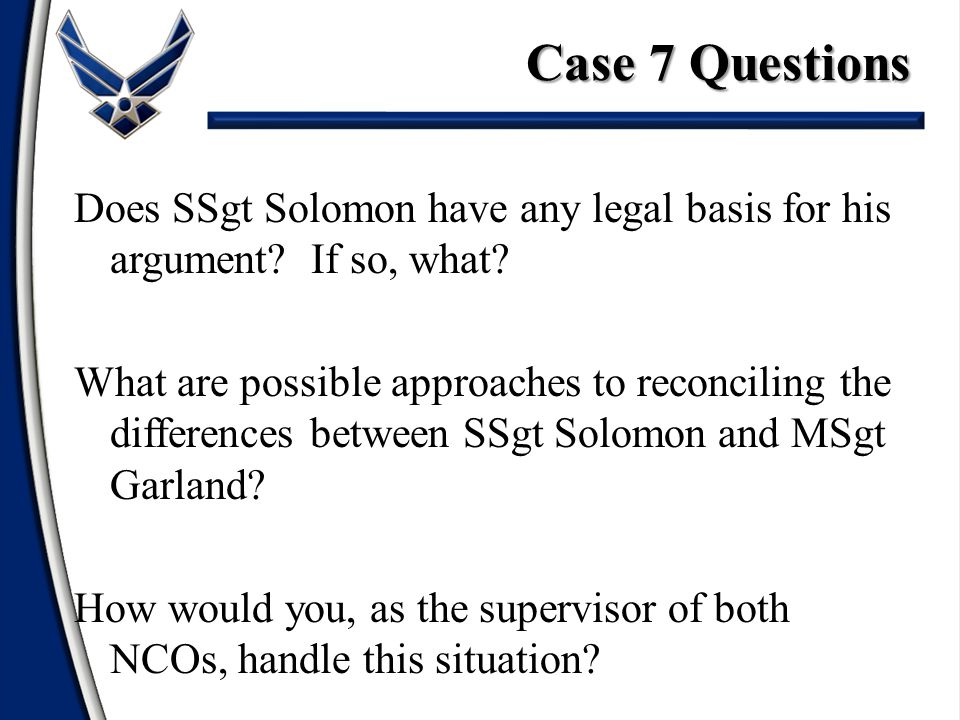 Does SSgt Solomon have any legal basis for his argument.
