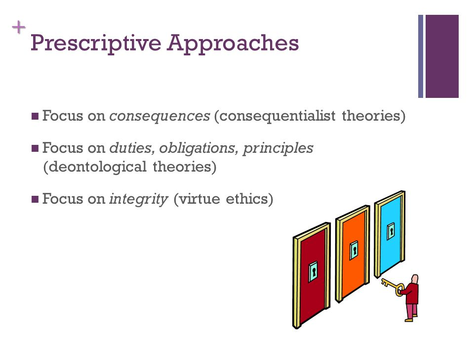 + Prescriptive Approaches Focus on consequences (consequentialist theories) Focus on duties, obligations, principles (deontological theories) Focus on integrity (virtue ethics)