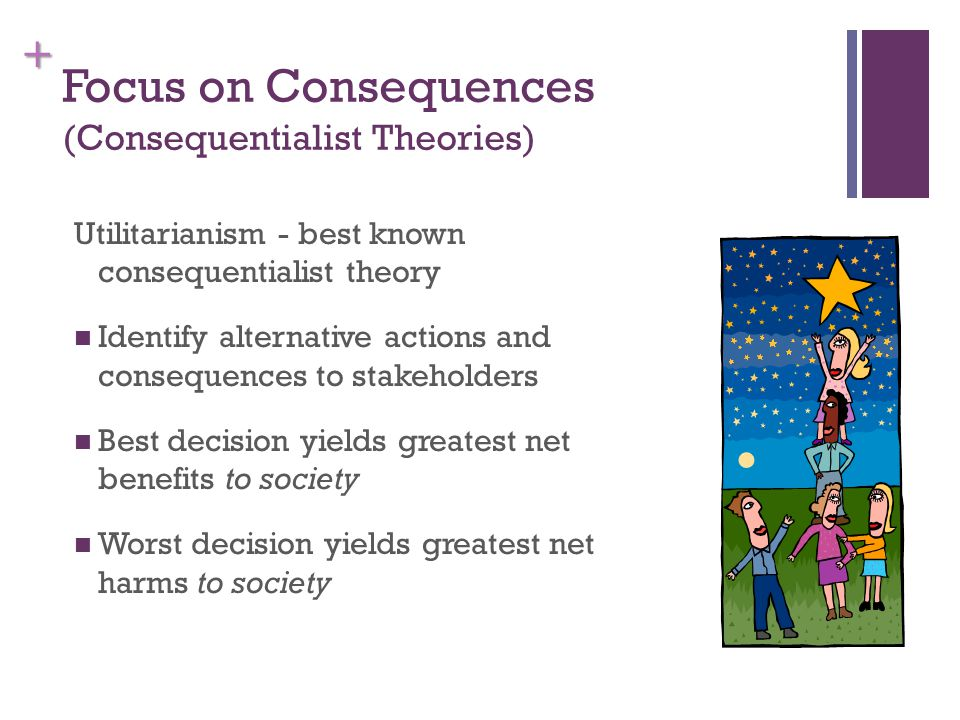 + Focus on Consequences (Consequentialist Theories) Utilitarianism - best known consequentialist theory Identify alternative actions and consequences to stakeholders Best decision yields greatest net benefits to society Worst decision yields greatest net harms to society