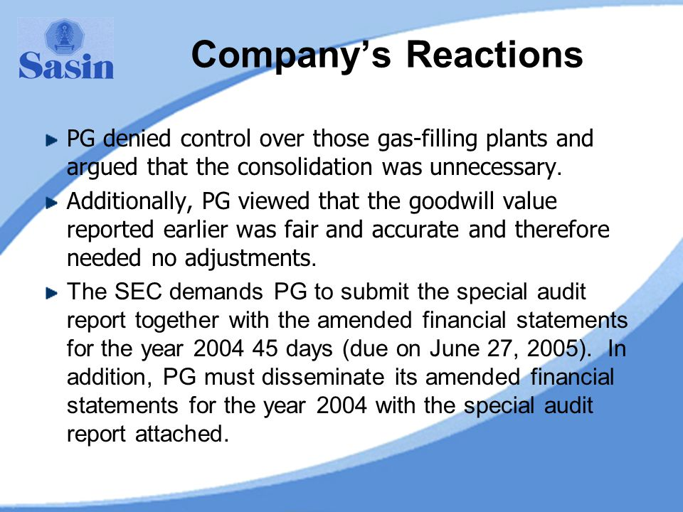 Company's Reactions PG denied control over those gas-filling plants and argued that the consolidation was unnecessary.