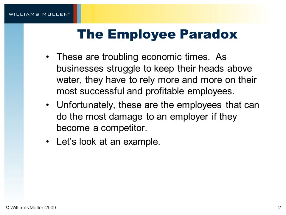  Williams Mullen 2009. 2 The Employee Paradox These are troubling economic times.