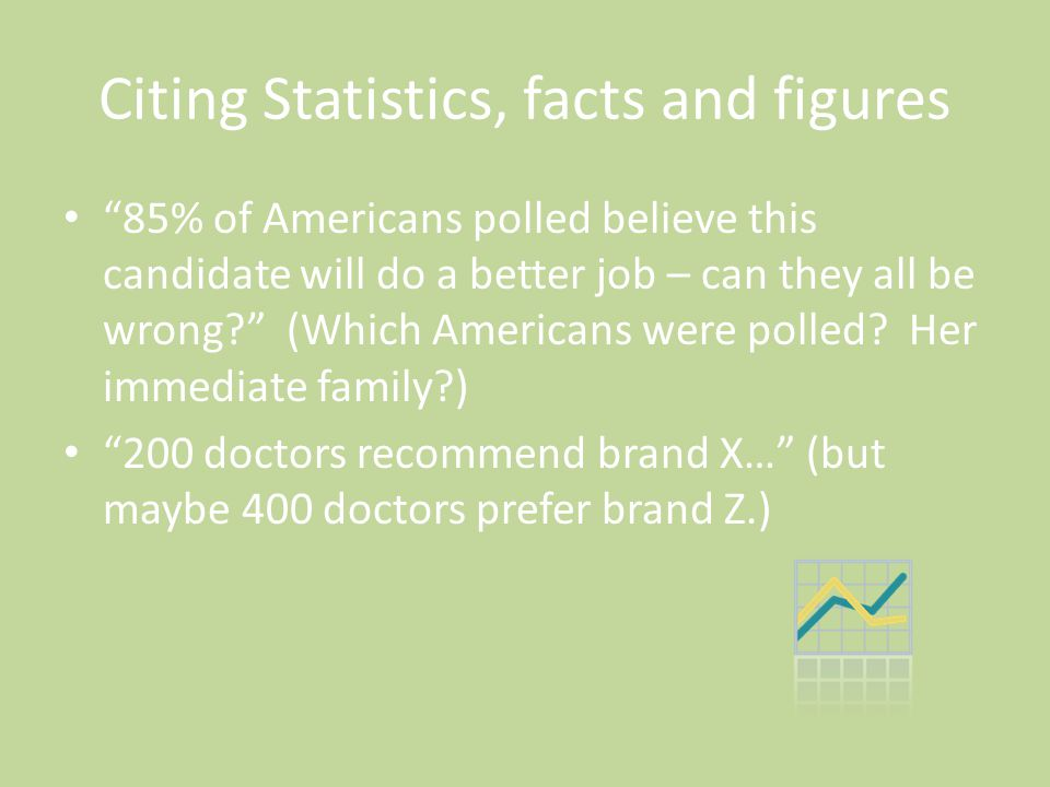 "Citing Statistics, facts and figures ""85% of Americans polled believe this candidate will do a better job – can they all be wrong?"" (Which Americans w"