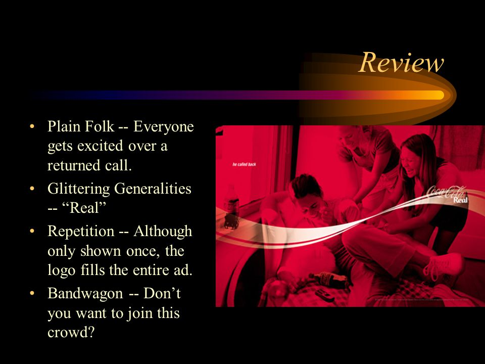 Review Glittering Generalities -- It's not just a bath, its... Plain Folk -- It's a woman thing.
