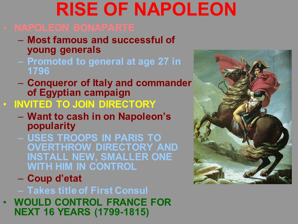 RISE OF NAPOLEON NAPOLEON BONAPARTE –Most famous and successful of young generals –Promoted to general at age 27 in 1796 –Conqueror of Italy and commander of Egyptian campaign INVITED TO JOIN DIRECTORY –Want to cash in on Napoleon's popularity –USES TROOPS IN PARIS TO OVERTHROW DIRECTORY AND INSTALL NEW, SMALLER ONE WITH HIM IN CONTROL –Coup d'etat –Takes title of First Consul WOULD CONTROL FRANCE FOR NEXT 16 YEARS (1799-1815)