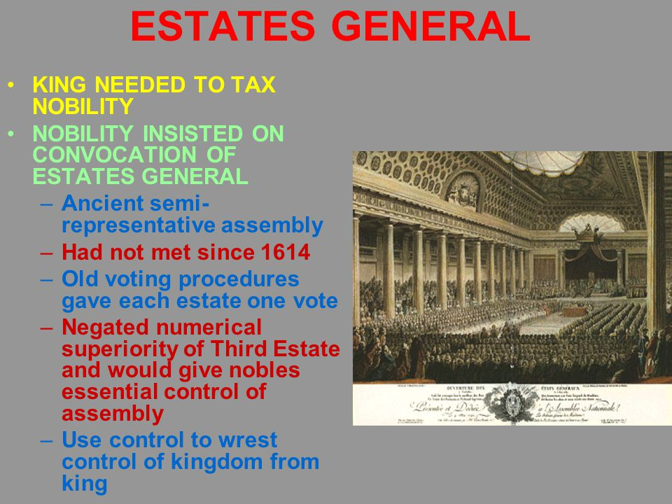 ESTATES GENERAL KING NEEDED TO TAX NOBILITY NOBILITY INSISTED ON CONVOCATION OF ESTATES GENERAL –Ancient semi- representative assembly –Had not met since 1614 –Old voting procedures gave each estate one vote –Negated numerical superiority of Third Estate and would give nobles essential control of assembly –Use control to wrest control of kingdom from king KING FINALLY AGREES; ESTATES GENERAL MEETS ON MAY 14, 1789