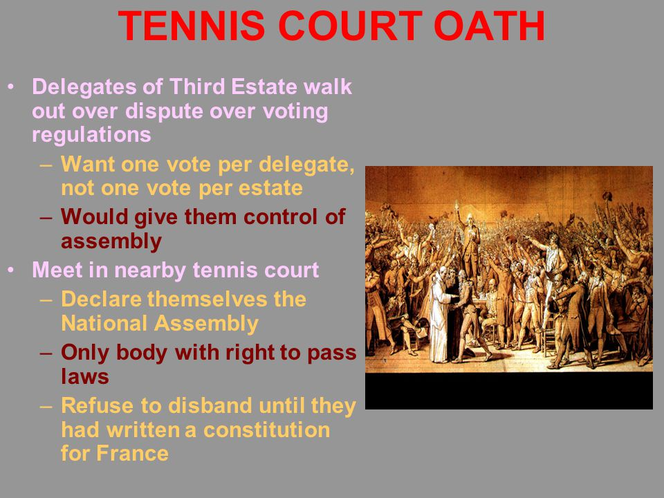TENNIS COURT OATH Delegates of Third Estate walk out over dispute over voting regulations –Want one vote per delegate, not one vote per estate –Would