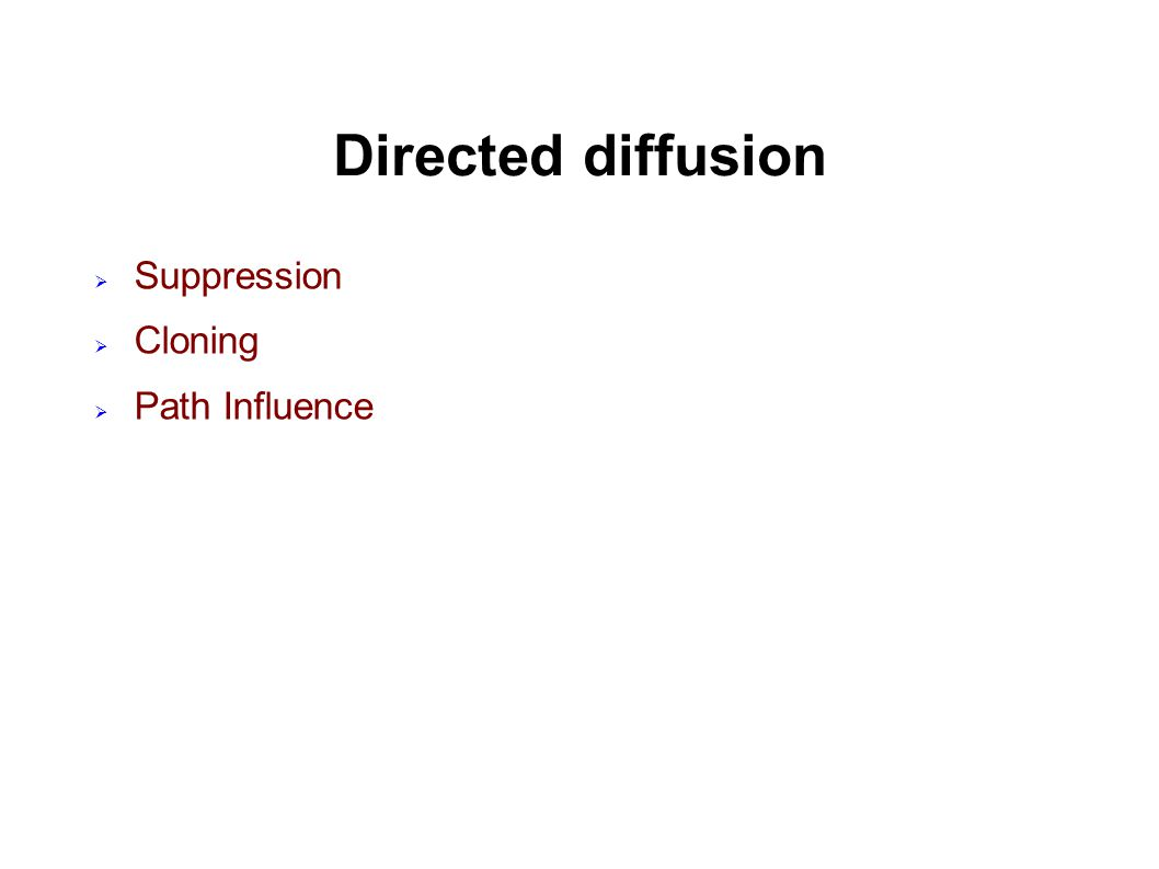 Directed diffusion  Suppression  Cloning  Path Influence