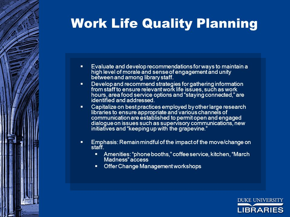 Work Life Quality Planning  Evaluate and develop recommendations for ways to maintain a high level of morale and sense of engagement and unity between and among library staff.