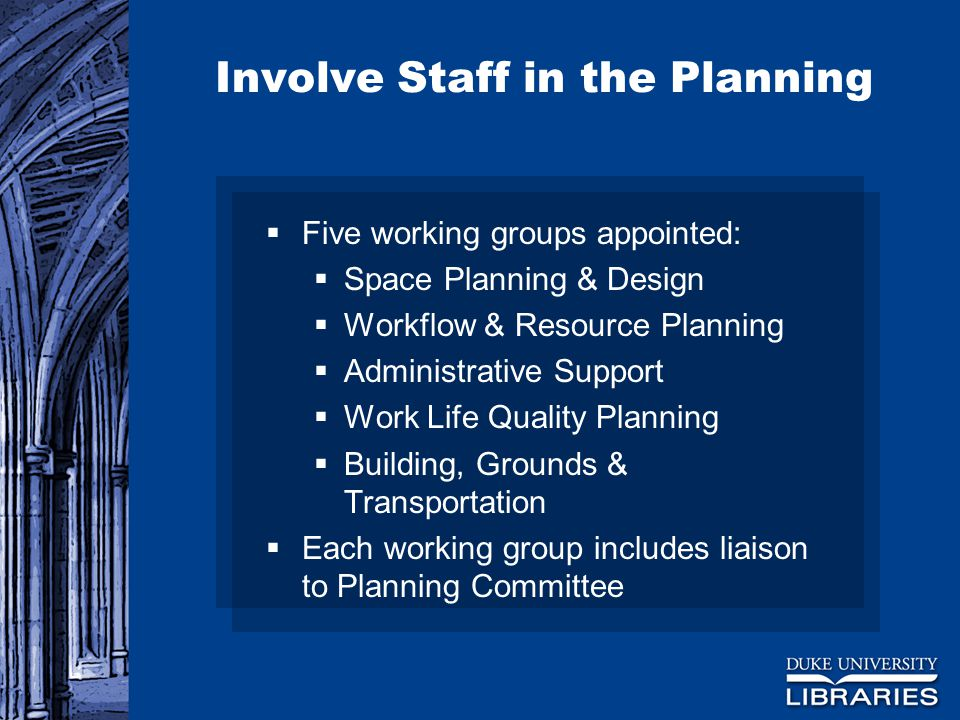 Involve Staff in the Planning  Five working groups appointed:  Space Planning & Design  Workflow & Resource Planning  Administrative Support  Work Life Quality Planning  Building, Grounds & Transportation  Each working group includes liaison to Planning Committee