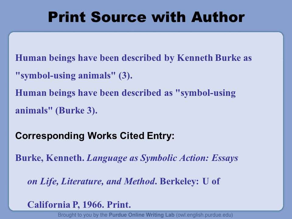 Print Source with Author Human beings have been described by Kenneth Burke as symbol-using animals (3).