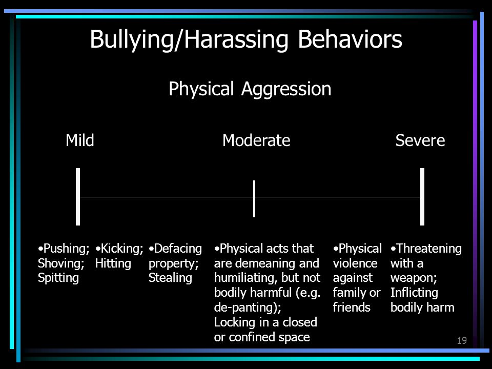 19 Bullying/Harassing Behaviors MildModerateSevere Pushing; Shoving; Spitting Kicking; Hitting Physical Aggression Defacing property; Stealing Physical acts that are demeaning and humiliating, but not bodily harmful (e.g.
