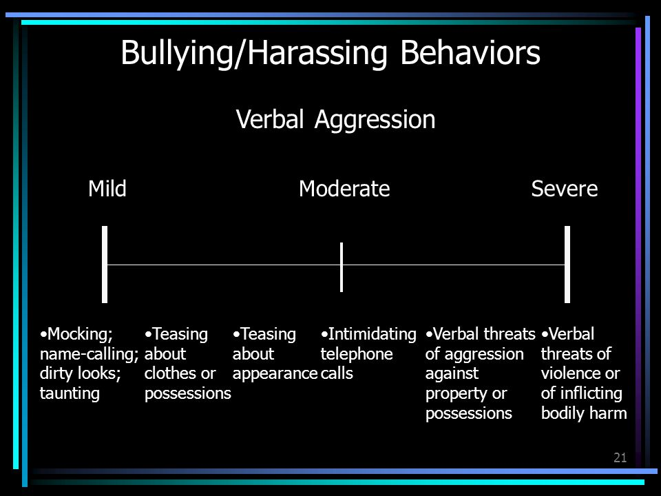 21 Bullying/Harassing Behaviors MildModerateSevere Mocking; name-calling; dirty looks; taunting Teasing about clothes or possessions Verbal Aggression Teasing about appearance Intimidating telephone calls Verbal threats of aggression against property or possessions Verbal threats of violence or of inflicting bodily harm