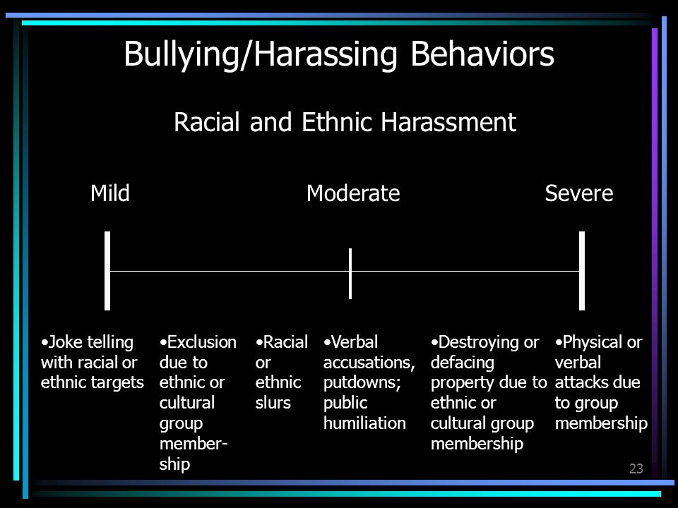 23 Bullying/Harassing Behaviors MildModerateSevere Joke telling with racial or ethnic targets Exclusion due to ethnic or cultural group member- ship Racial and Ethnic Harassment Racial or ethnic slurs Verbal accusations, putdowns; public humiliation Destroying or defacing property due to ethnic or cultural group membership Physical or verbal attacks due to group membership