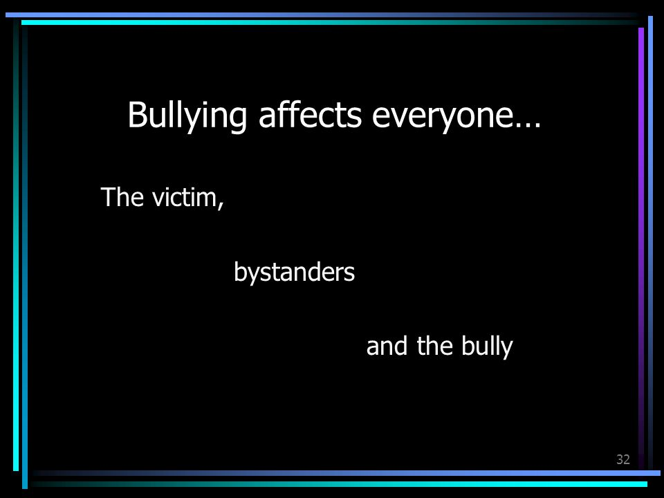 32 Bullying affects everyone… The victim, bystanders and the bully