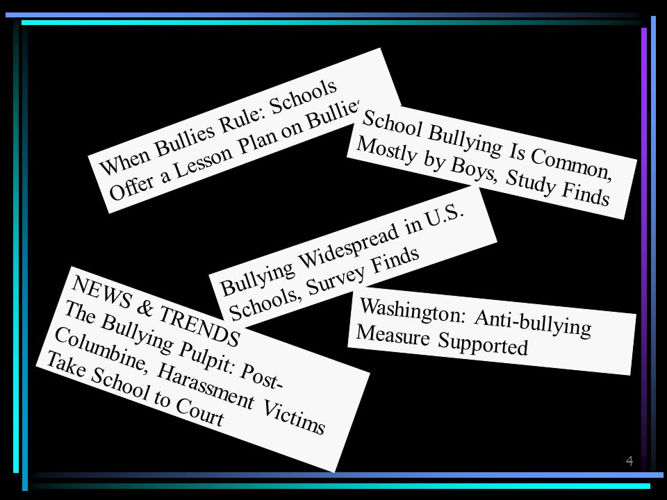 4 Bullying Widespread in U.S.