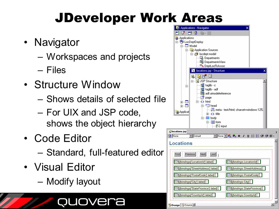 10 JDeveloper Work Areas Navigator –Workspaces and projects –Files Structure Window –Shows details of selected file –For UIX and JSP code, shows the object hierarchy Code Editor –Standard, full-featured editor Visual Editor –Modify layout
