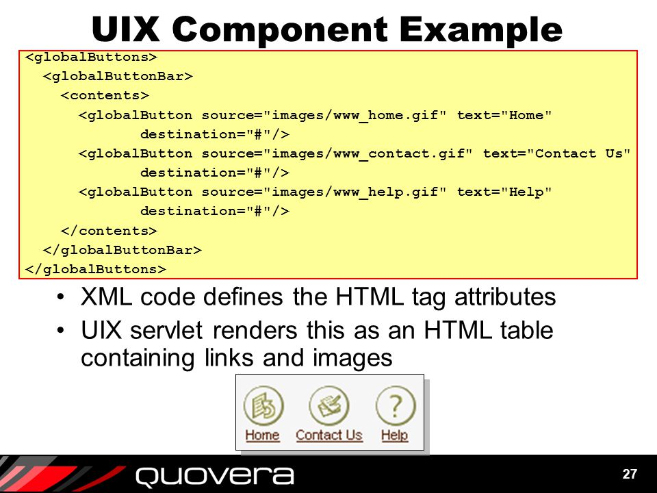 27 UIX Component Example XML code defines the HTML tag attributes UIX servlet renders this as an HTML table containing links and images <globalButton source= images/www_home.gif text= Home destination= # /> <globalButton source= images/www_contact.gif text= Contact Us destination= # /> <globalButton source= images/www_help.gif text= Help destination= # />