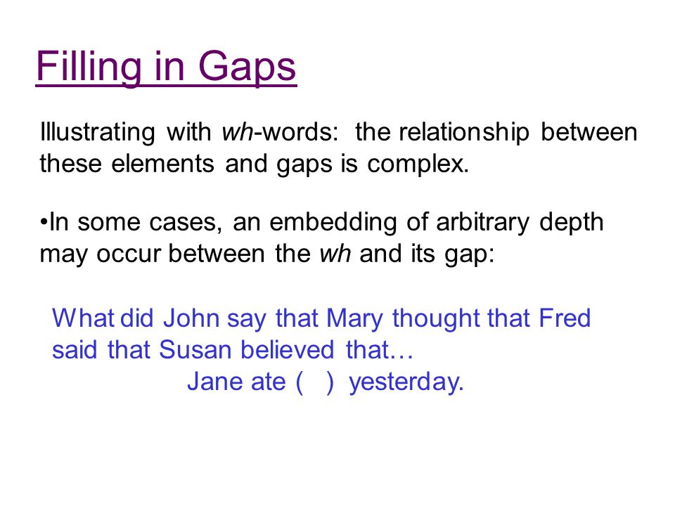 Filling in Gaps Illustrating with wh-words: the relationship between these elements and gaps is complex.