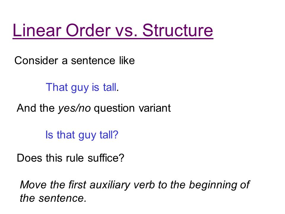 Linear Order vs. Structure Consider a sentence like That guy is tall.