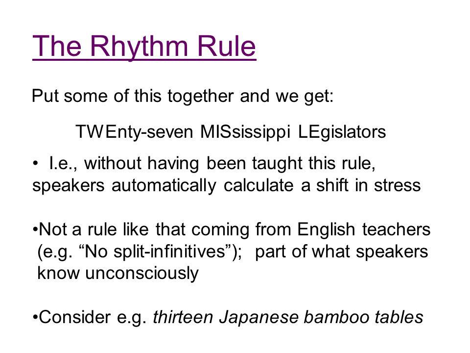 Syllable Structure Legislator: le-gi-sla-tor; four syllables (  )  Onset Rhyme c Nucleus Coda a t Monosyllabic cat: