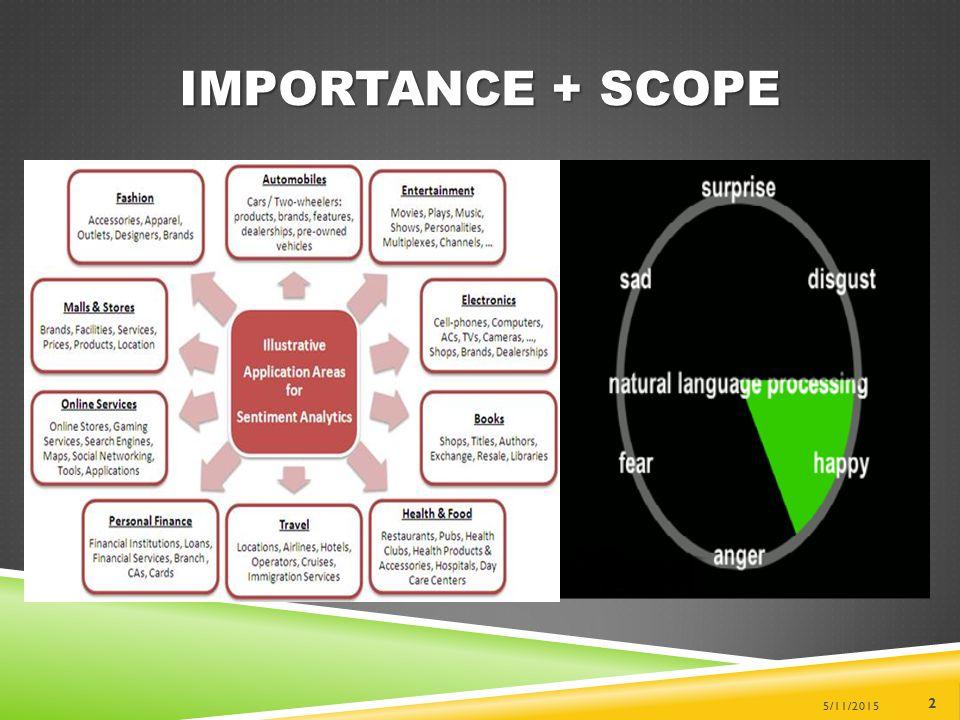 IMPORTANCE + SCOPE 5/11/2015 2