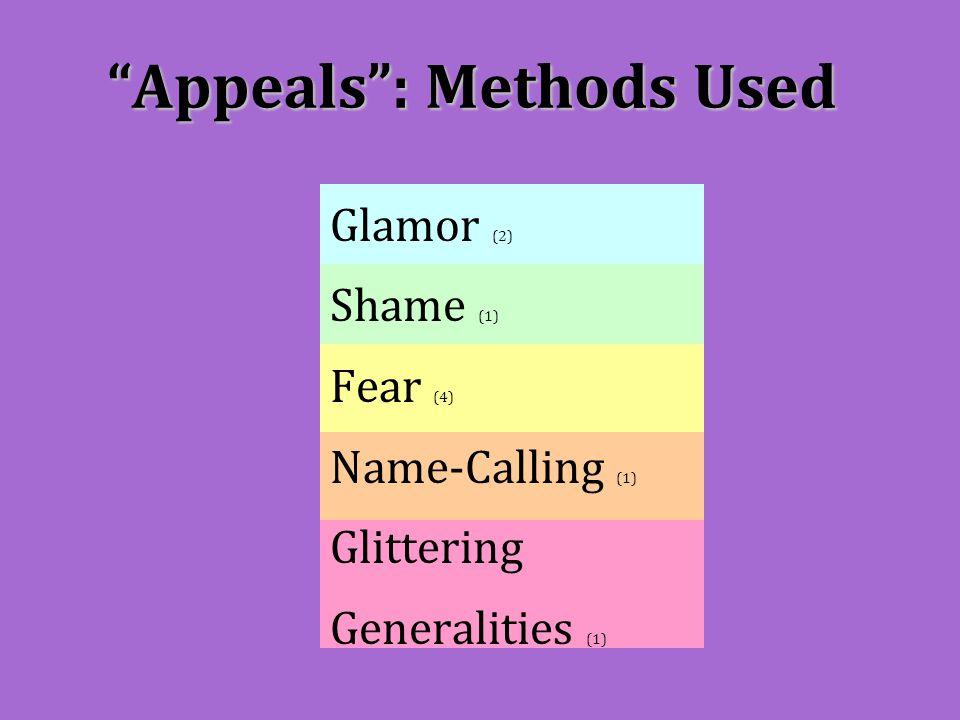 """Appeals"": Methods Used Glamor (2) Shame (1) Fear (4) Name-Calling (1) Glittering Generalities (1)"
