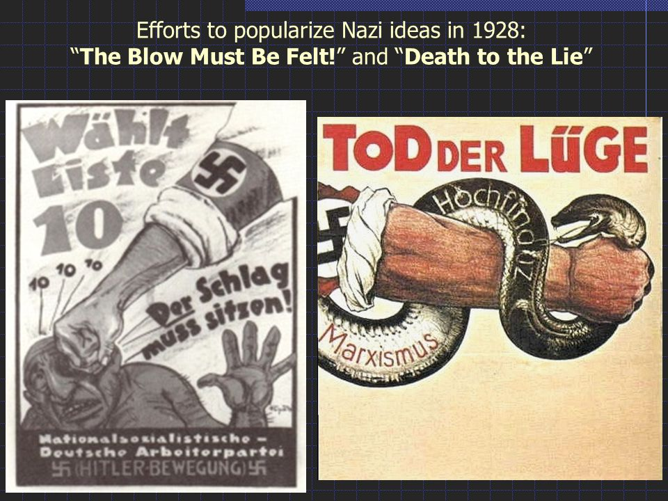 Efforts to popularize Nazi ideas in 1928: The Blow Must Be Felt! and Death to the Lie