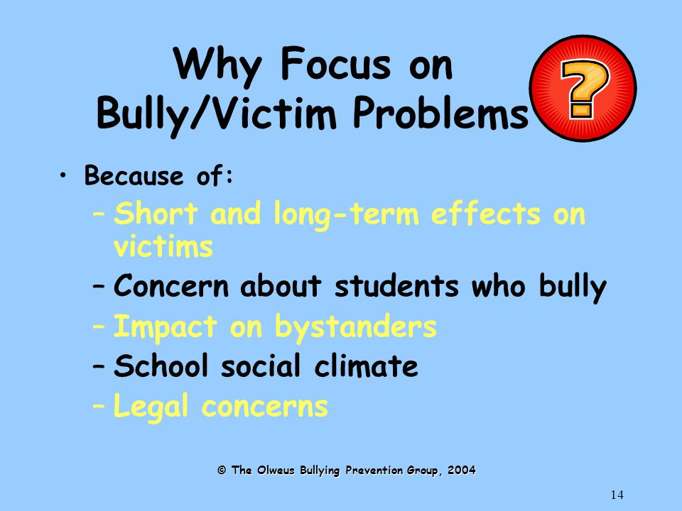 14 Why Focus on Bully/Victim Problems Because of: –Short and long-term effects on victims –Concern about students who bully –Impact on bystanders –School social climate –Legal concerns © The Olweus Bullying Prevention Group, 2004
