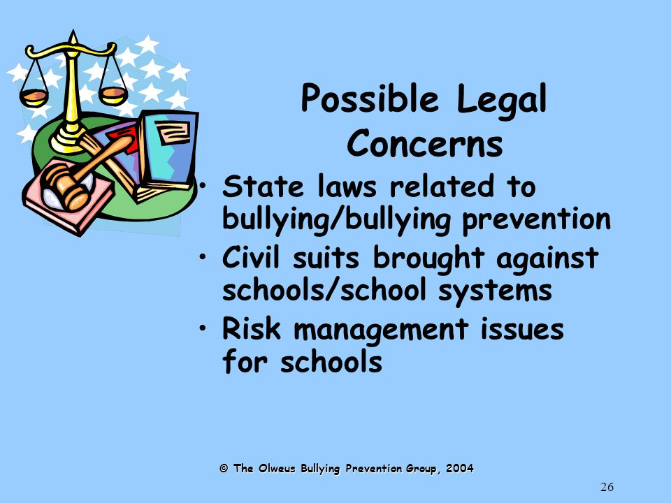 26 Possible Legal Concerns State laws related to bullying/bullying prevention Civil suits brought against schools/school systems Risk management issues for schools © The Olweus Bullying Prevention Group, 2004