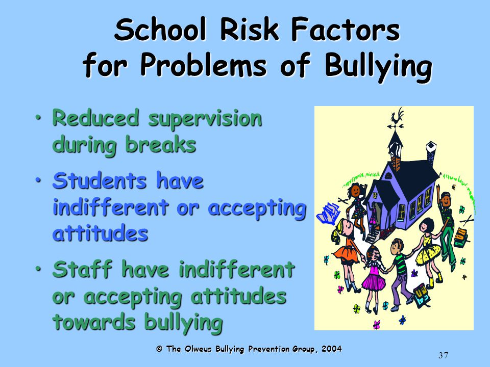 37 School Risk Factors for Problems of Bullying Reduced supervision during breaksReduced supervision during breaks Students have indifferent or accepting attitudesStudents have indifferent or accepting attitudes Staff have indifferent or accepting attitudes towards bullyingStaff have indifferent or accepting attitudes towards bullying © The Olweus Bullying Prevention Group, 2004