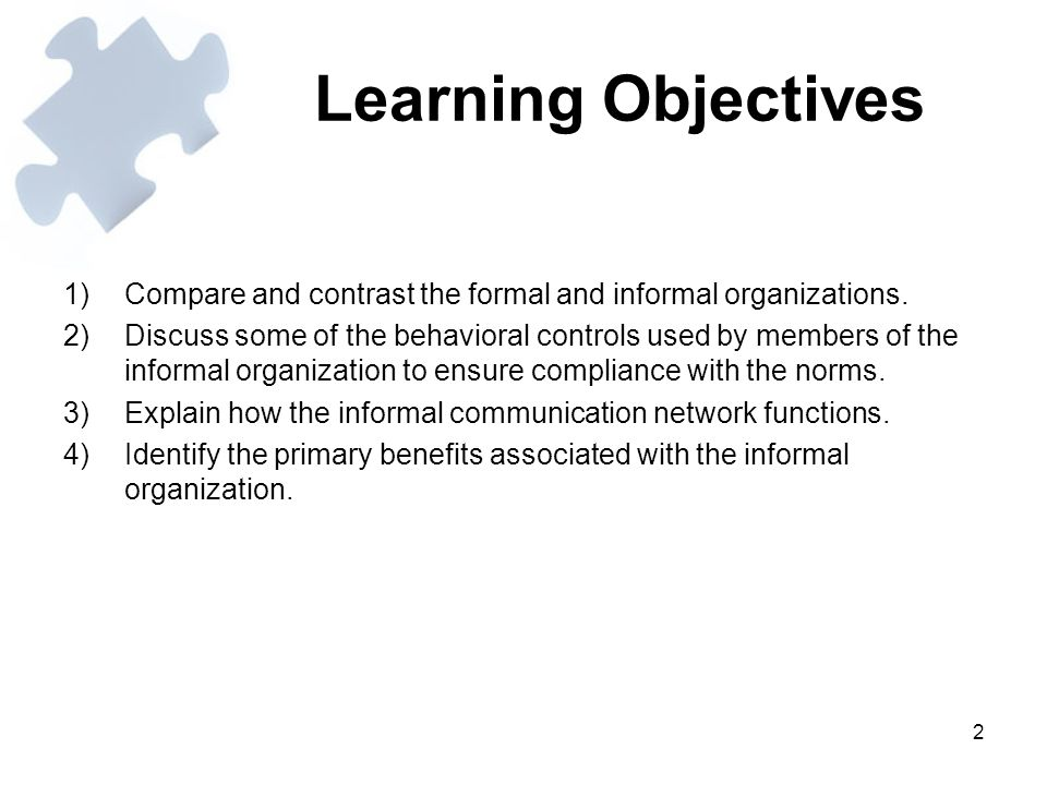 3 Learning Objectives (contd.) 5)Identify the primary disadvantages associated with the informal organization.
