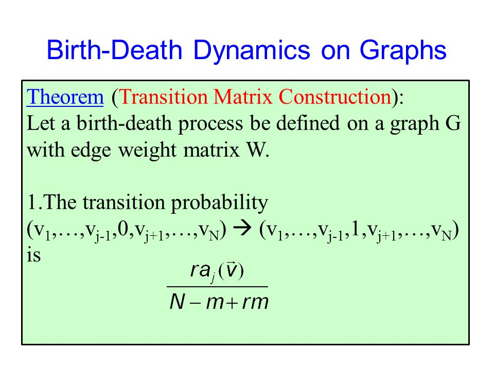 Birth-Death Dynamics on Graphs Theorem (Transition Matrix Construction): Let a birth-death process be defined on a graph G with edge weight matrix W.