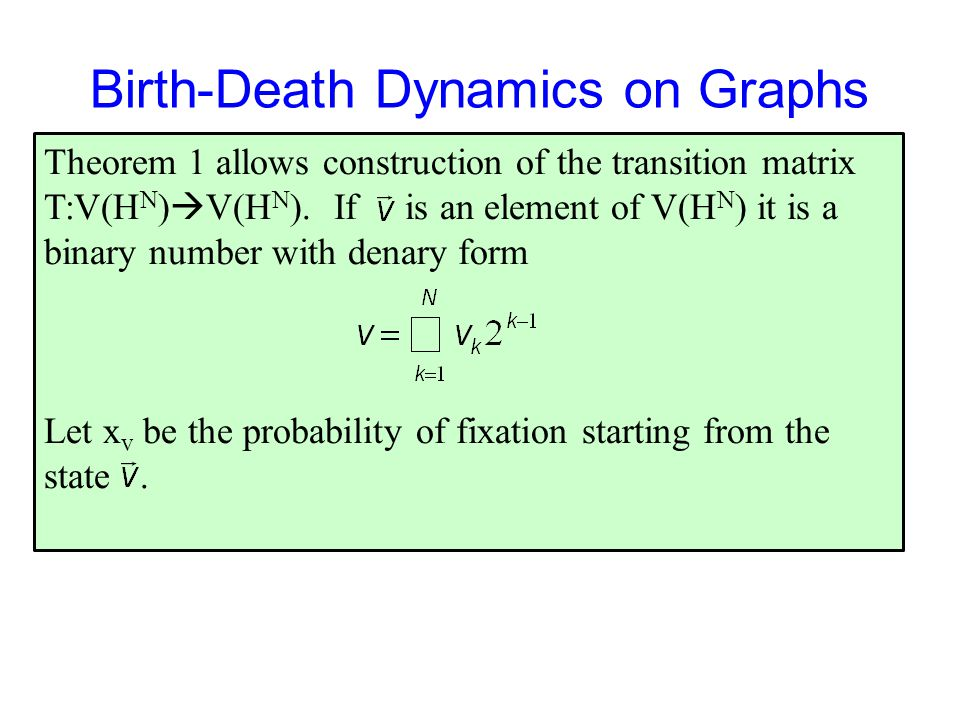 Birth-Death Dynamics on Graphs Theorem 1 allows construction of the transition matrix T:V(H N )  V(H N ).