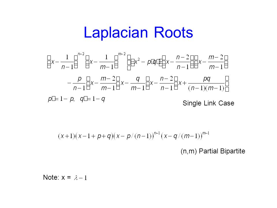 Laplacian Roots Single Link Case (n,m) Partial Bipartite Note: x =