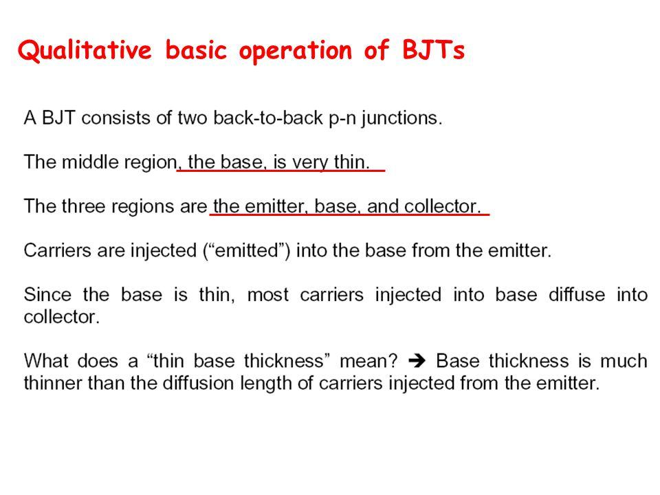 Qualitative basic operation of BJTs