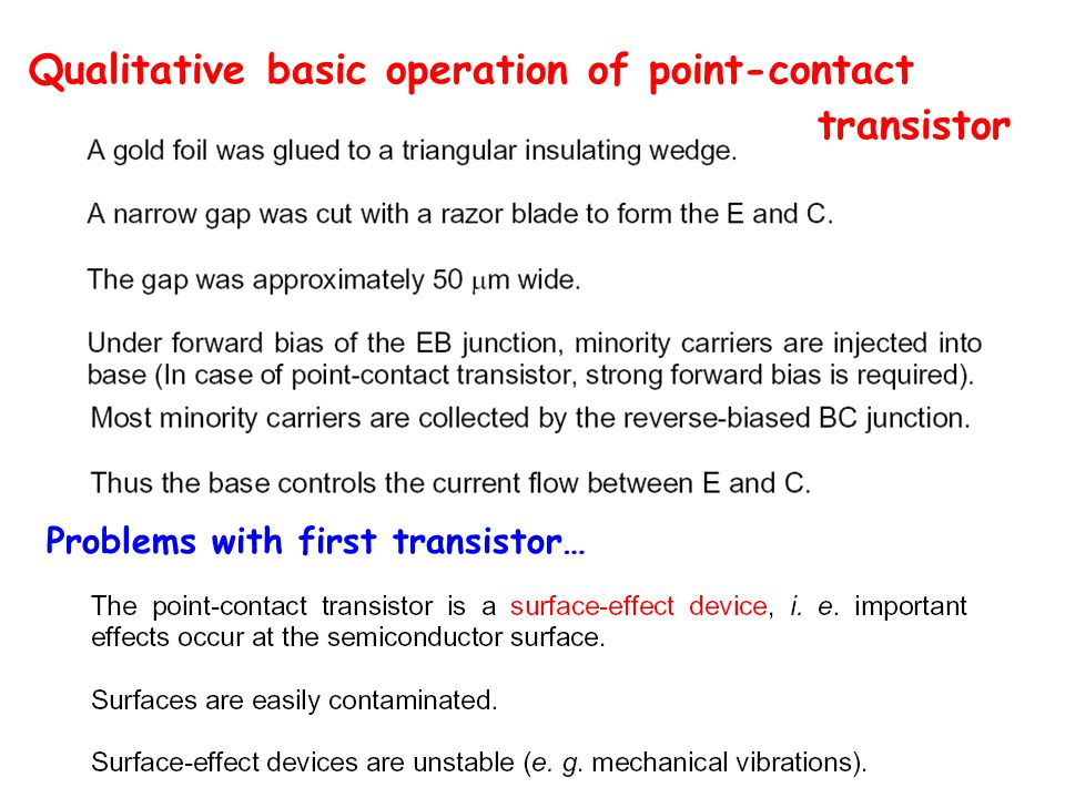 Qualitative basic operation of point-contact transistor Problems with first transistor…