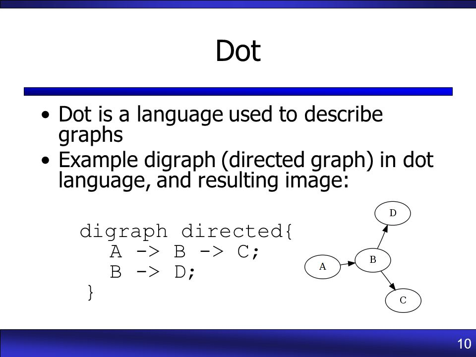 10 Dot Dot is a language used to describe graphs Example digraph (directed graph) in dot language, and resulting image: digraph directed{ A -> B -> C; B -> D; }