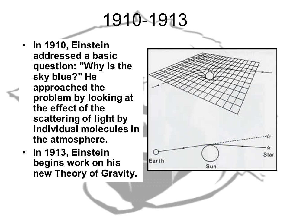 1910-1913 In 1910, Einstein addressed a basic question: Why is the sky blue He approached the problem by looking at the effect of the scattering of light by individual molecules in the atmosphere.