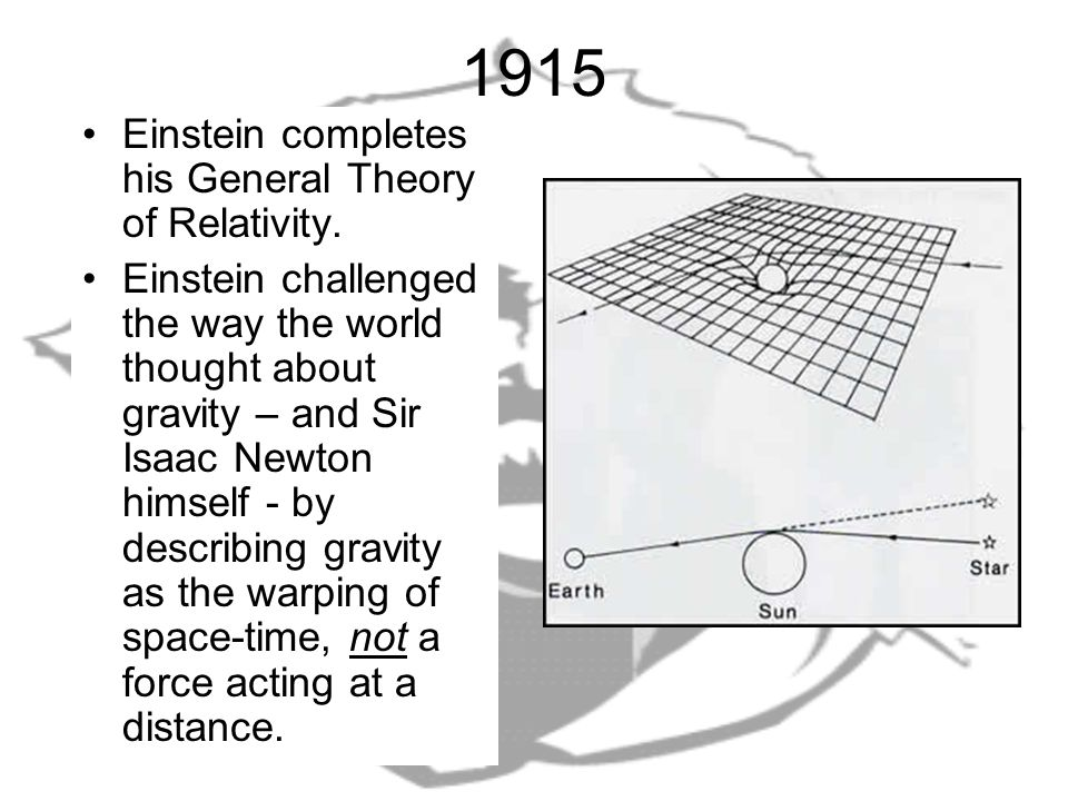 1915 Einstein completes his General Theory of Relativity.