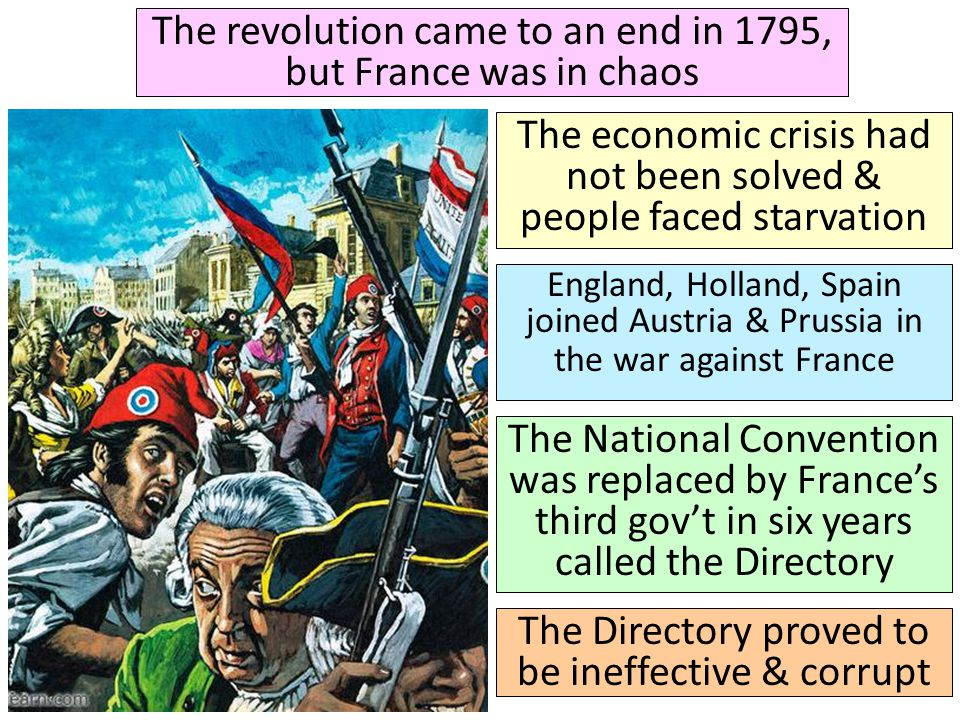 The revolution came to an end in 1795, but France was in chaos The economic crisis had not been solved & people faced starvation England, Holland, Spa