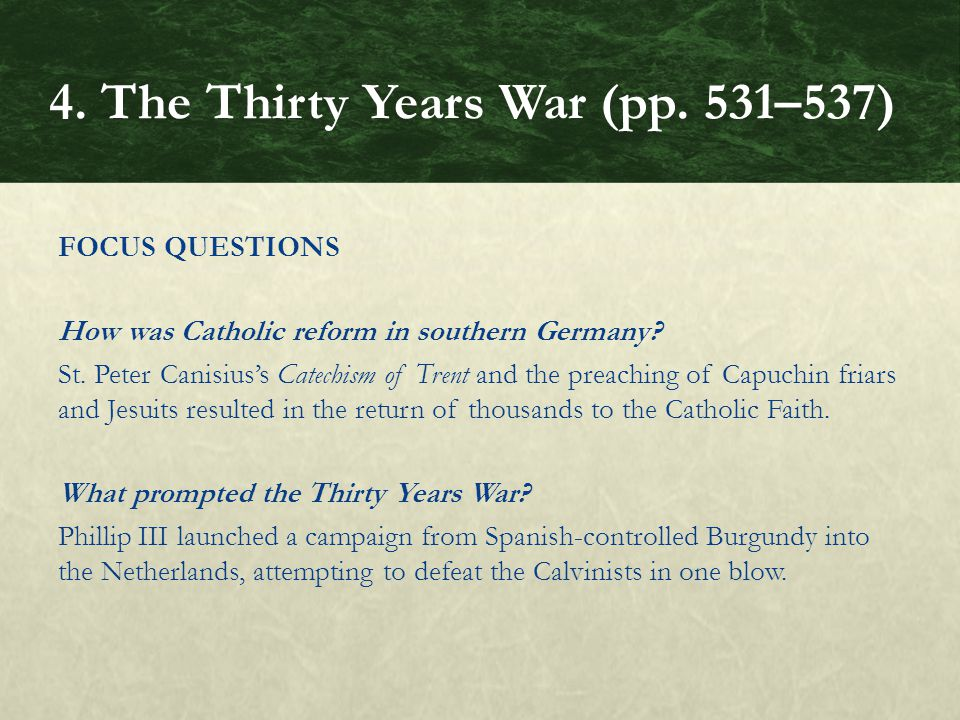 FOCUS QUESTIONS How was Catholic reform in southern Germany.