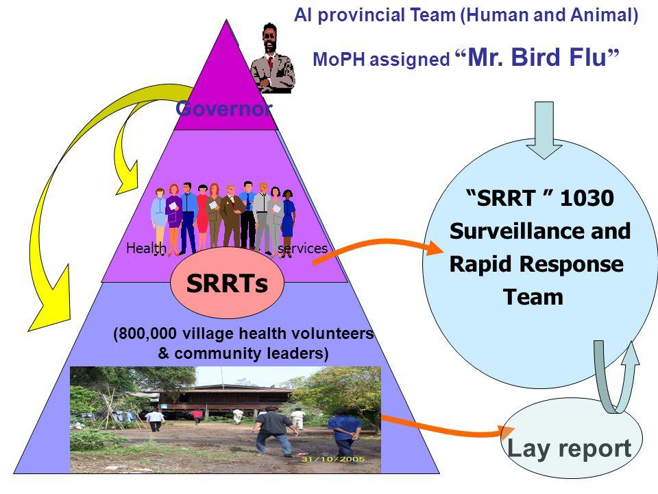 """SRRT "" 1030 Surveillance and Rapid Response Team Health services SRRTs AI provincial Team (Human and Animal) MoPH assigned "" Mr. Bird Flu "" (800,000"