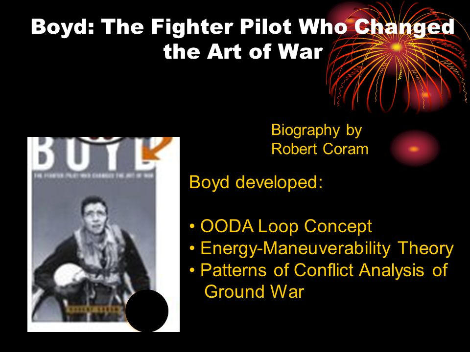 Boyd: The Fighter Pilot Who Changed the Art of War Biography by Robert Coram Boyd developed: OODA Loop Concept Energy-Maneuverability Theory Patterns of Conflict Analysis of Ground War