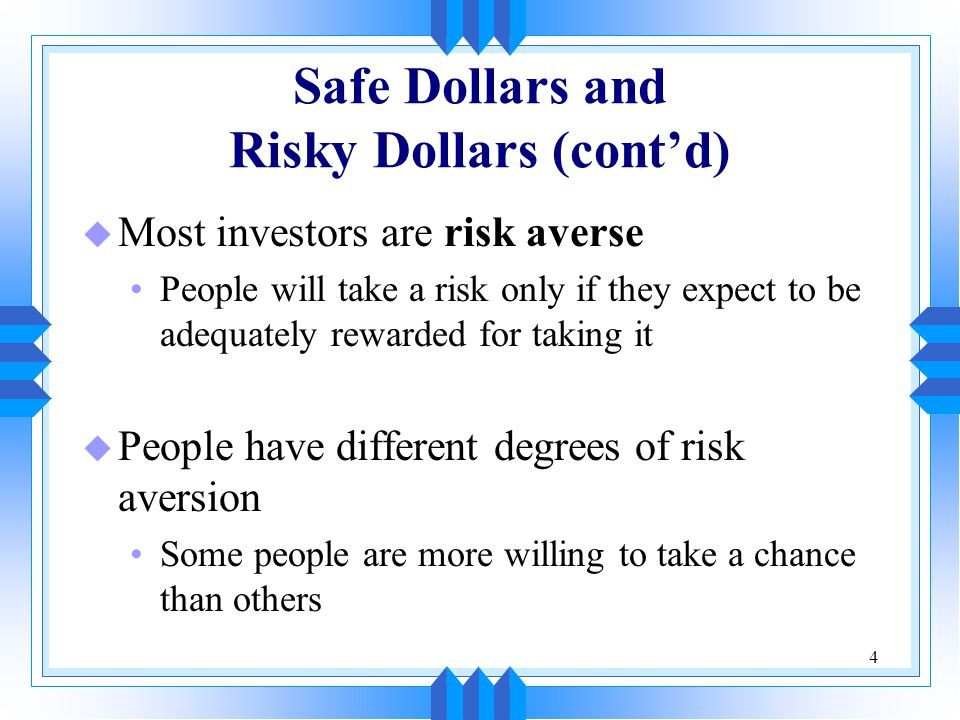 5 Choosing Among Risky Alternatives Example You have won the right to spin a lottery wheel one time.