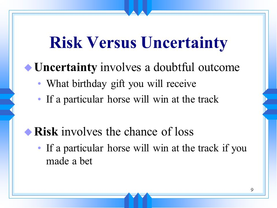 10 Dispersion and Chance of Loss u There are two material factors we use in judging risk: The average outcome The scattering of the other possibilities around the average
