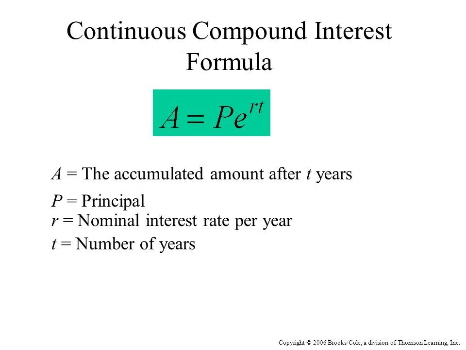 Copyright © 2006 Brooks/Cole, a division of Thomson Learning, Inc. Continuous Compound Interest Formula A = The accumulated amount after t years P = P