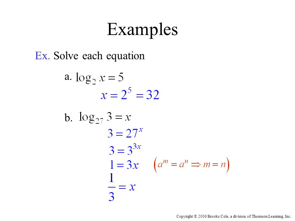 Copyright © 2006 Brooks/Cole, a division of Thomson Learning, Inc. Examples Ex. Solve each equation a. b.