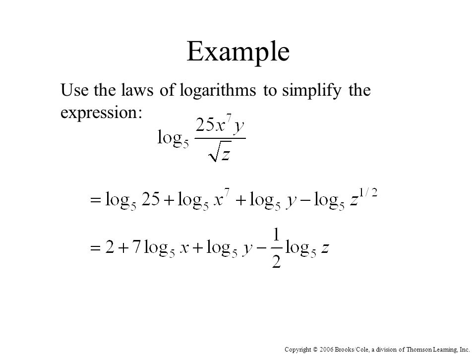 Copyright © 2006 Brooks/Cole, a division of Thomson Learning, Inc. Example Use the laws of logarithms to simplify the expression: