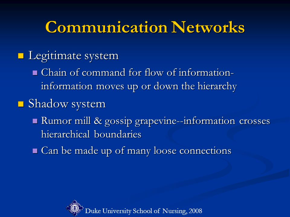 Duke University School of Nursing, 2008 Communication Networks Legitimate system Legitimate system Chain of command for flow of information- information moves up or down the hierarchy Chain of command for flow of information- information moves up or down the hierarchy Shadow system Shadow system Rumor mill & gossip grapevine--information crosses hierarchical boundaries Rumor mill & gossip grapevine--information crosses hierarchical boundaries Can be made up of many loose connections Can be made up of many loose connections