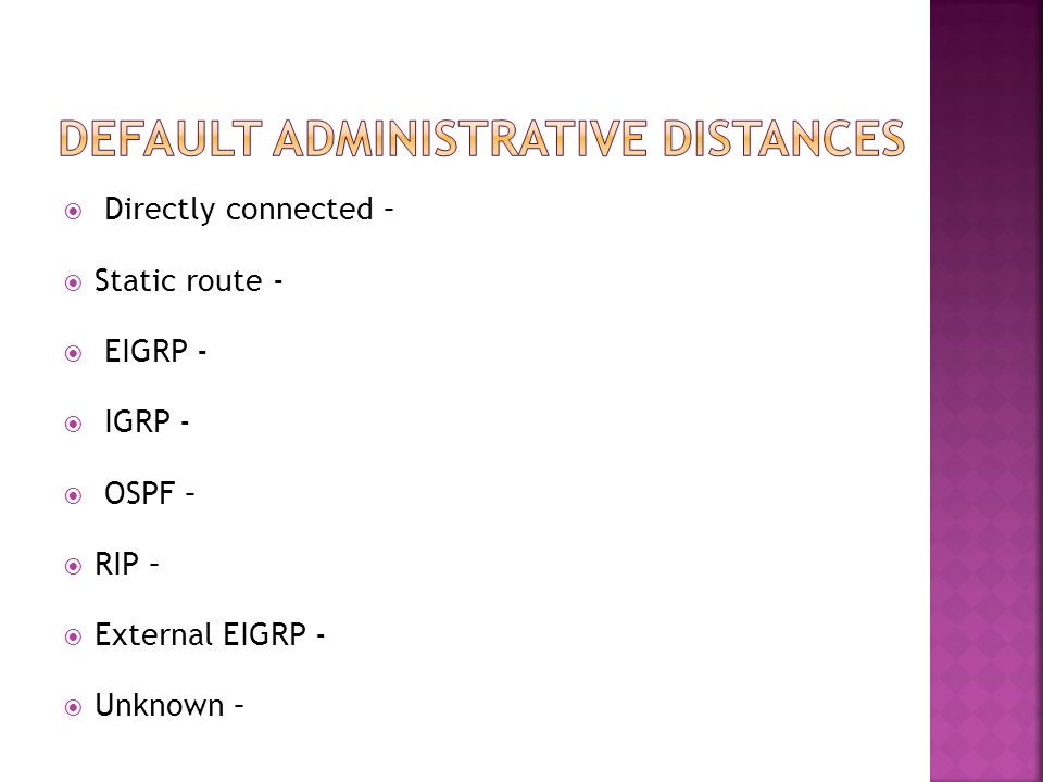  Distance Vector – finds best routing by …  Link state – finds best route by …  Hybrid – there's only one and it's special!